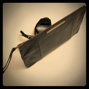 VINTAGE Large Black Leather Clutch Wristlet Purse